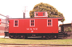 Ex-PM caboose painted as 'M and NE' Caboose #18
