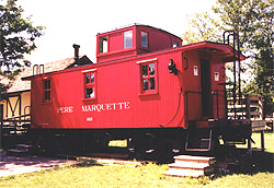 PM wooden caboose #A621 on display at the Huckleberry Railroad