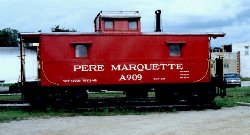 PM caboose #A909 on display in Owosso, MI